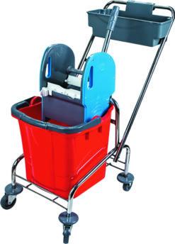 Wózek do sprzątania wiadro i koszyk na chemię