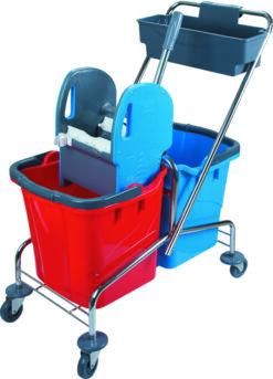 Stalowy wózek do sprzątania 2 wiadra i koszyk na chemię