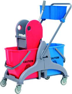 Wózek do sprzątania 2 wiadra i koszyk na chemię